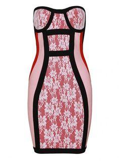 Pink Lace Flower Strapless Bandage Dress HL032 @Designer for Sure (by Puja Wahi) @Renita Miller @Ruth Ferguson @Renita Miller @Eldee Reyes @Regina Hensley