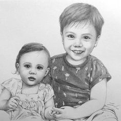 Custom portrait, baby girl or family pencil portrait drawing from a photo. - Custom portrait baby girl or family pencil portrait drawing Portrait Au Crayon, Pencil Portrait Drawing, Boy Drawing, Pencil Drawings, Art Drawings, Baby Girl Portraits, Pet Portraits, Post Office, Brother And Sis