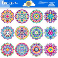 Geometric Flowers Clipart set for Instant Download includes 12 bright and chearful rangoli graphics in various designs.    •Graphics are