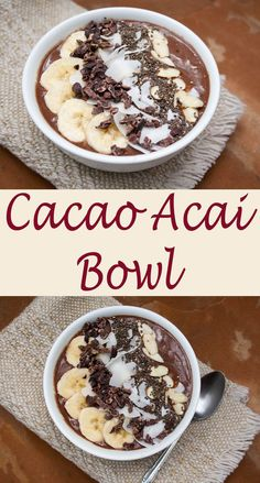 Smoothie Recipes Cacao Acai Bowl (vegan, gluten free) - Dessert for breakfast, yes please! Actually this vegan smoothie bowl is very healthy, but you will feel like you are eating an indulgent dessert! Smoothie Bowl Vegan, Smoothies Vegan, Smoothie Recipes, Fruit Smoothies, Acai Fruit Bowl, Vegan Breakfast Smoothie, Cacao Smoothie, Fruit Bowls, Drink Recipes