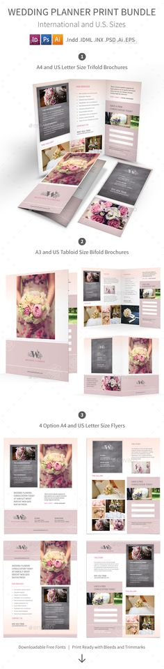 Wedding Planner Print Bundle — Photoshop PSD #bifold #flower • Available here → https://graphicriver.net/item/wedding-planner-print-bundle/17198292?ref=pxcr
