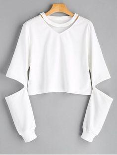 Up to 68% OFF! Crew Neck Cut Out Sleeve Sweatshirt. Zaful,zaful.com,zaful fashion,tops,womens tops,outerwear,sweatshirts,hoodies,hoodies outfit,hoodies for teens,sweatshirts outfit,long sleeve tops,sweatshirts for teens,winter outfits,fall outfits,tops,sweatshirts for women,women's hoodies,womens sweatshirts,cute sweatshirts,floral hoodie,crop hoodies,oversized sweatshirt, halloween costumes,halloween,halloween outfits,halloween tops,halloween costume ideas. @zaful Extra 10% OFF Code:ZF2017