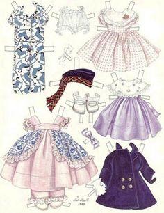 Dolls to cut: old paper dolls Vintage Dresses 50s, Vintage Girls, Vintage Outfits, Vintage Fashion, Paper Dolls Printable, Moda Vintage, Vintage Paper Dolls, Paper Toys, Costume Design