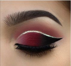 maroon and black smokey eyes, silver crease wing