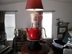 For Sale: TEACUP LAMP - Bright red colors