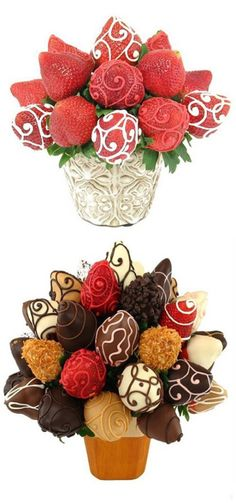 Chocolate flowers made with cake balls and chocolate covered strawberries! Great gift for someone who loves chocolate and strawberries! Chocolate Flowers, Chocolate Bouquet, Chocolate Strawberries, Chocolate Covered Strawberries, Chocolate Dipped, Cake Chocolate, Dipping Chocolate, Cake Pops, Deco Fruit