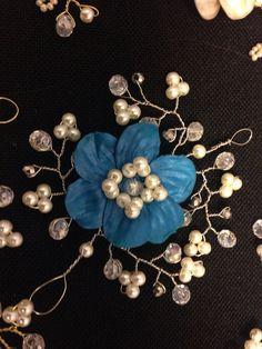 Wedding Prom Hair Vine Polymer Clay Flowers Pearls Crystals on Etsy, $52.00