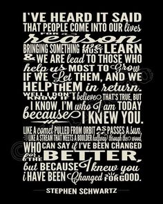 """I Have Been Changed """"For Good"""" Song Lyrics - INSTANT DOWNLOAD Printable Wicked the Broadway Musical Show Play Quote Memorabilia Wall Art Home Office Decor by Jalipeno on Etsy. It's the perfect gift for a teacher, professor, dance teacher, coach, bridesmaid, co-worker, boss, assistant, friend, musical theater fan, etc. and for so many occasions - as a memento from the show, parting gift, retirement, thank you, moving / going away, farewell, by VenusV"""