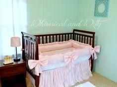 Lace and Pink Satin Baby Crib Bedding Set - Ruffled Crib Skirt - Lace Crib Bumpers, Oversized Satin Bows