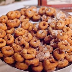 In addition to the couple's wedding cake, guests were also treated to cinnamon and sugar donuts.