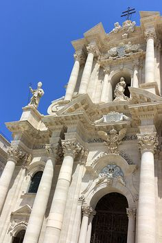 Duomo    Syracuse - Sicily - Italy. Once a Greek Temple - now just married couples come for a special blessing. Lovely cafes opposite across a wide square.