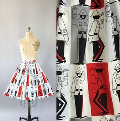 Vintage 50s Skirt/ 1950s Cotton Skirt/ Red & by WhenDecadesCollide