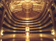 Teatro alla Scala - The Teatro alla Scala was founded, under the auspices of the Empress Maria Theresa of Austria, to replace the Royal Ducal Theatre, which was destroyed by fire on 26 February 1776 and had until then been the home of opera in Milan. Covent Garden, Sydney Opera, Staatsoper Berlin, Opera Arias, Things To Do In Italy, Visit Italy, Milan Italy, Concert Hall, Cool Places To Visit