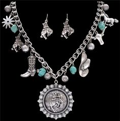 Silver Strike Turquoise Stone Necklace and Earring Set  AT COWGIRL BLONDIE'S WESTERN BOUTIQUE