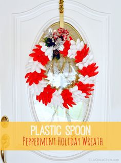 Homemade Holiday Wreath Craft with Foam Circle and Plastic Spoons by Club Chica Circle