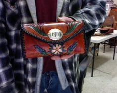Wallet / Women's / Spring Flowers / Custom / Clutch, Wallet / Hand Carved and Tooled / Leather / HandCrafted / Woman / Checkbook,  Wallet