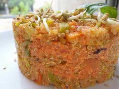 Timbal de quinoa amb salsa de pebrot escalivat