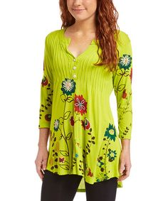 Look what I found on #zulily! Green Floral Button-Front Top #zulilyfinds