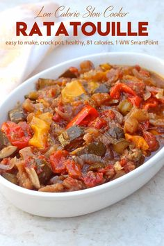 Ratatouille is the classic French vegetable stew from Provence made with eggplant, zucchini, onions and tomatoes. You can serve this as a slow cooker side dish or as a main course with salad and crusty bread! Healthy Crockpot Recipes, Slow Cooker Recipes, Vegetarian Recipes, Cooking Recipes, Oven Recipes, Vegetarian Cooking, Easy Cooking, Vegetarian Barbecue, Barbecue Recipes