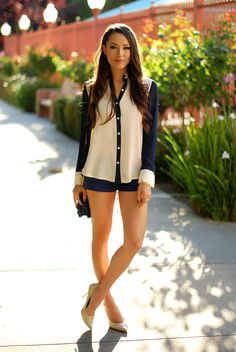 Blue & Cream Blouse & Blue Shorts from hapatime.com