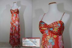 Vintage VANITY FAIR 70's Sweeping Orange Floral NIGHTGOWN - SZ 34 Hostess Sissy