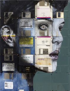 SPEED OF LIFE by Nick Gentry - Mixed paint and used #computer #disks on wood #art