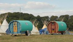 Camp Bestival 2013 - Camping - Gypsy Bowtop Caravans (sold Out) Gypsy Caravan, Gypsy Wagon, Camping Glamping, Camping Life, Camping Ideas, Camp Bestival, Gypsy Living, Little Houses, Tiny Houses