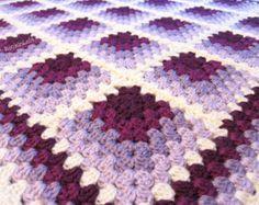 crochet baby blanket purple baby blanket - lavender lilac plum baby blanket - crochet baby blanket - handmade by RockinLola - Afghan Patterns, Crochet Blanket Patterns, Baby Blanket Crochet, Knitting Patterns, Granny Square Crochet Pattern, Crochet Granny, Purple Baby, Plum Purple, Purple Quilts