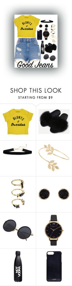 """""""🍃+🌯 = Life"""" by pretty-sassy ❤ liked on Polyvore featuring Miss Selfridge, Noir Jewelry, Humble Chic, Olivia Burton, Not Vodka, Vianel, River Island, 420, distresseddenim and daisydukes"""