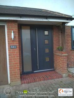 Composed terminated raised porch design Request a catalog Grey Front Doors, Front Door Porch, Front Doors With Windows, House Front Door, House With Porch, Porch Timber, Timber Door, Porch Extension, Composite Front Door