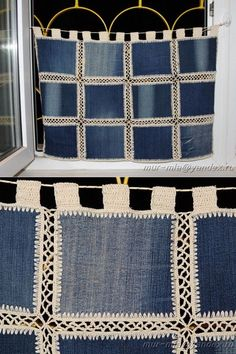 Diy Crafts - SewingBagscute,SewingBagsman-New life to old things - Jeans curtains -- La vida nueva a las cosas viejas – los visillos Jeans – New life Crochet Bedspread, Crochet Quilt, Crochet Lace, Crochet Stitches, Crochet Patterns, Diy Crafts Knitting, Diy Crafts Crochet, Jean Crafts, Denim Crafts