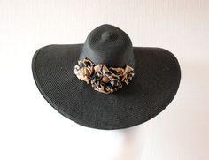 BLACK women sun hat  Straw hat   Black hat  Black by LALcouture