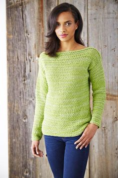 Boat Neck Pullover - free crochet sweater patterns