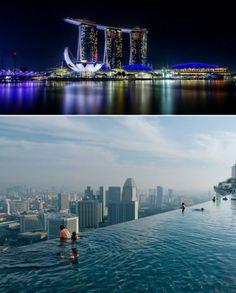 """O complexo hoteleiro Marina Bay Sands, em Singapura, tem mais de 580 mil m². A """"piscina infinita"""", instalada no alto de um dos arranha-céus, oferece vistas belíssimas."""