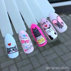 really cute nails Tree Nail Art, Cat Nail Art, Cat Nails, Pop Art Nails, Short Nails Art, Tammy Nails, French Tip Nail Art, Anime Nails, Kawaii Nails