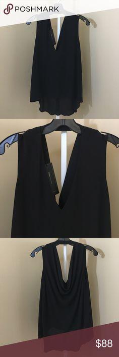BCBG Drape Back Top Brand new top by BCBG. Soft crepe with a V neck and drape back. BCBG Tops