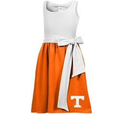 Tennessee Volunteers Womens Babydoll Sundress with Pockets - White/Tennessee Orange