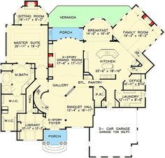 Ranch House Plan 98267 | Total Living Area: 2498 sq. ft., 3 bedrooms on