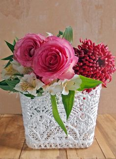 The 4 inch square stiffened lace vase cover has a scalloped edge and is inches tall. Can be used as a basket or to cover vases. Lace Vase, Lace Centerpieces, Lace Parasol, Lace Table Runners, Lace Decor, Wine Bottle Holders, Floral Supplies, Lace Doilies, Easter Crafts