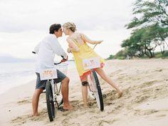 maui wedding on beach cruisers by wendy laurel