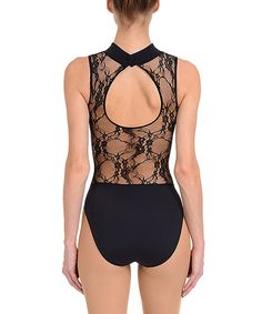 Look at this Danskin Rich Black Lace Back Leotard - Women on #zulily today!
