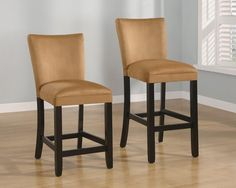 "Bloomfield 24""H or 29""H Microfiber Bar Stool with Gold Fabric - Set of 2 - Homeclick Community"