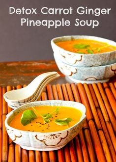 Carrot Ginger Pineapple Detox Soup | ShesCookin.com | Delicious served chilled on these hot summer days! #vegan #gf #dairyfree