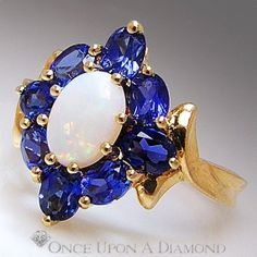 Estate White Opal  Blue Sapphire 2.00ctw Right Hand Ring Yellow Gold