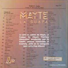 """El Grammy es el galardón más prestigioso de la industria musical y nuestra Reina del Like estuvo nominada en la categoría de Best Latin Pop Album por su álbum """"Fantasy Obsession""""."""