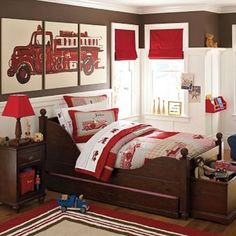 Little boys room. Love the red and brown! @Trena Henley
