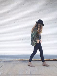 Black Skinny Jeans // Oversized Military Jacket