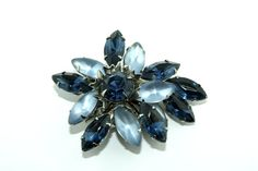 Vintage Sparkly & Frosty Light and Sapphire Blue Rhinestone Brooch, Flower Design. Weiss or Juliana Style. on Etsy, $18.00