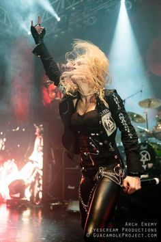 Arch Enemy - Classic Rock Goddess Style !!!   Jackets, Bullet Belts, Rockstar Jeans, Boots....... etc !!!   Get Your Own Rock Goddess and Metal God look from us at  www.newrockbristol.co.uk
