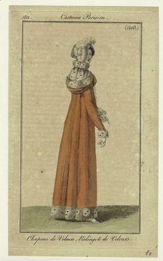 """""""Chapeau de Velours, Redingote de Velours"""", Journal des Dames et des Modes, 1812; NYPL 801888"""